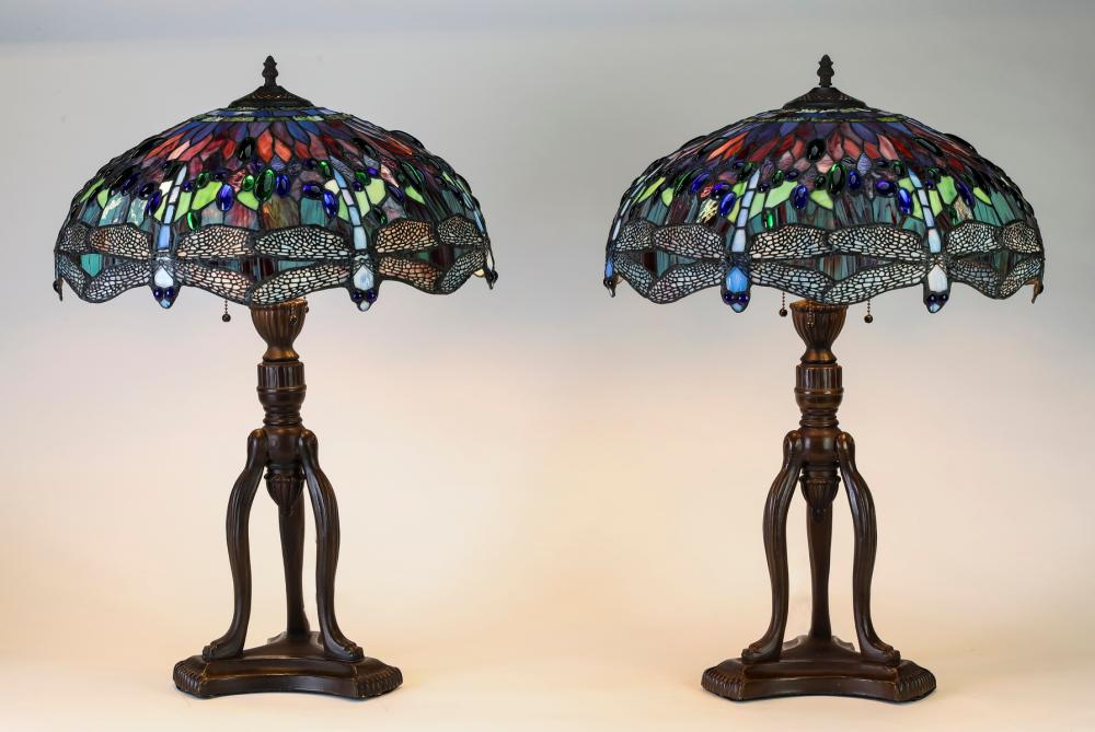 Pair of patinated Tiffany style dragonfly table lamps
