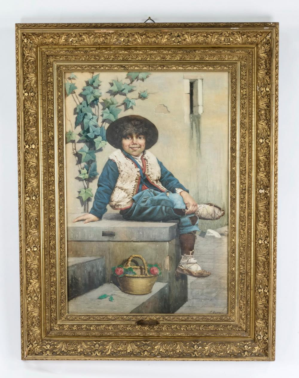 Frederico Ballesio W/c 'The Flower Seller,' signed