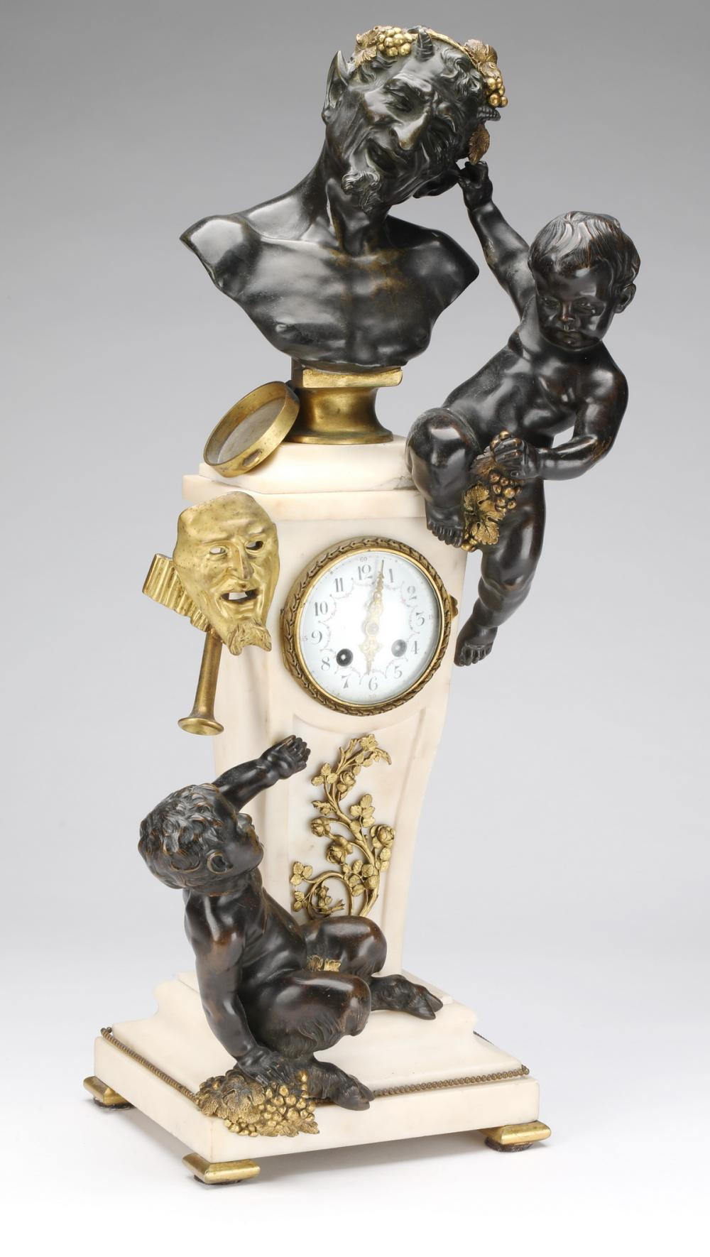 19th c. French bronze and marble figural mantel clock