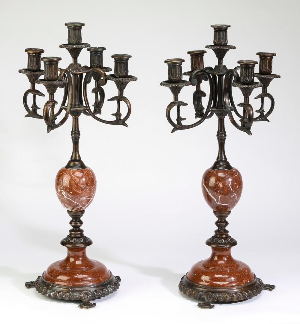 (2) Rouge marble & patinated bronze candelabra