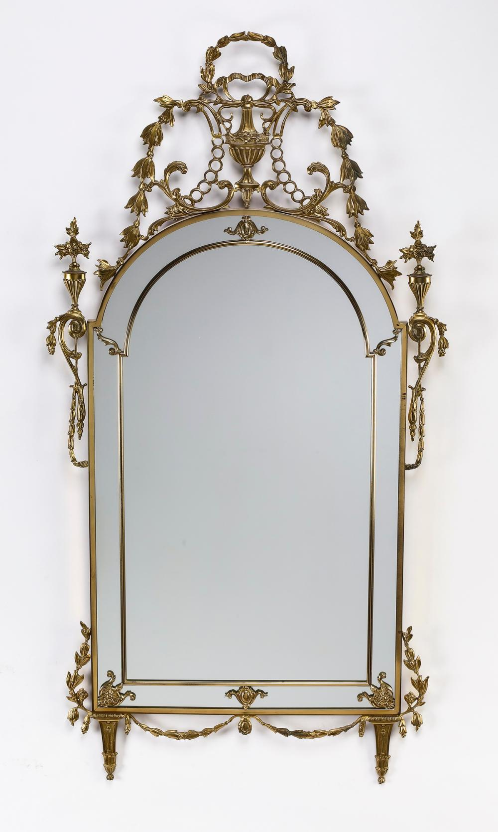 "Neoclassical style gilt metal wall mirror, 48""h"