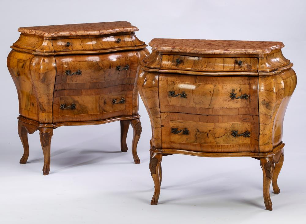 (2) 19th c. French marble and olive wood commodes