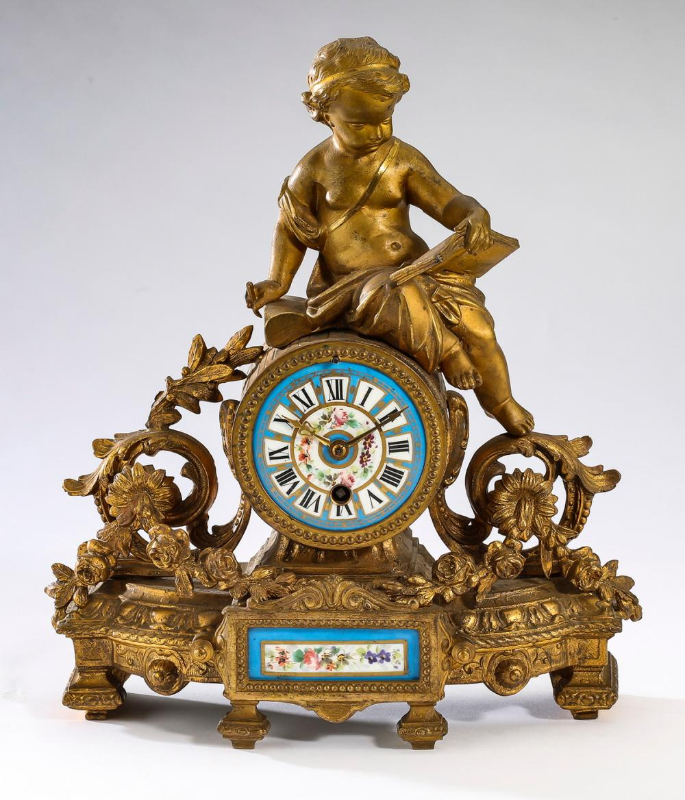 French gilt and Sevres style porcelain mantel clock