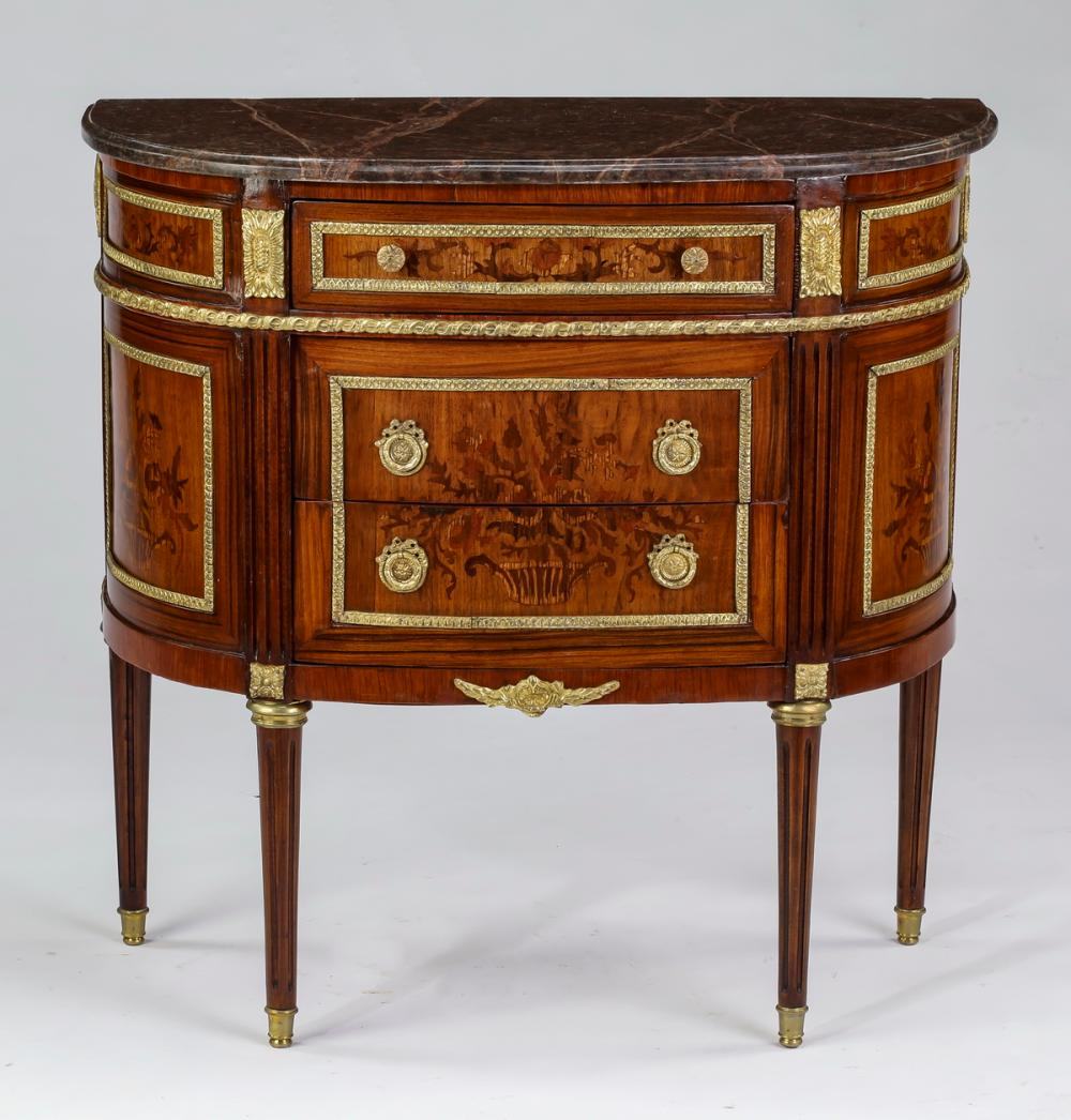 Bronze mounted, marquetry inlaid marble top commode