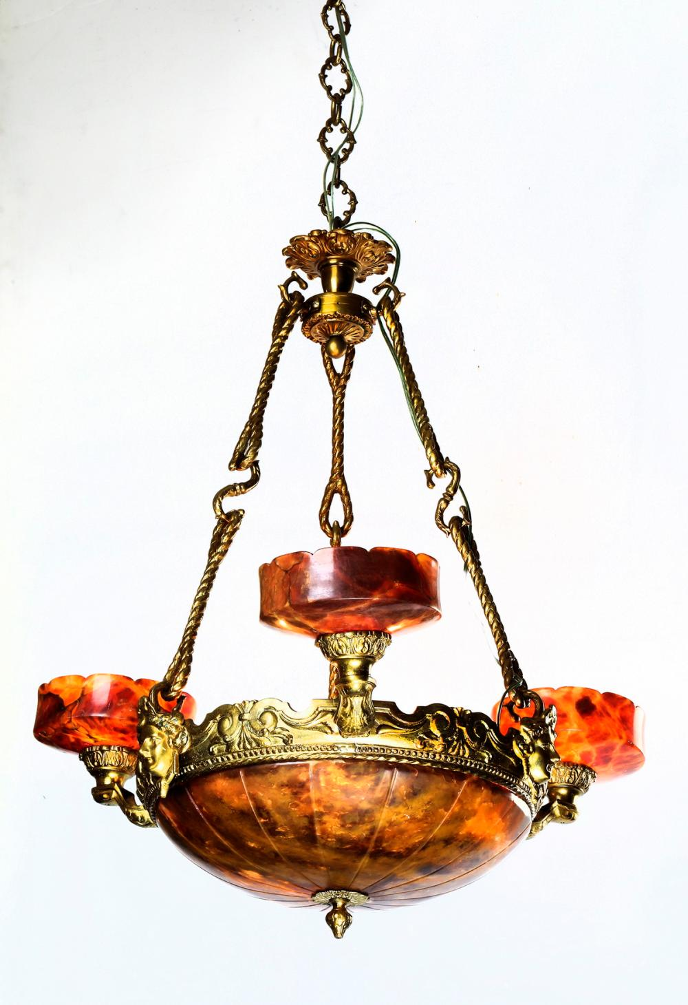 Early 20th c  gilt bronze & alabaster chandelier