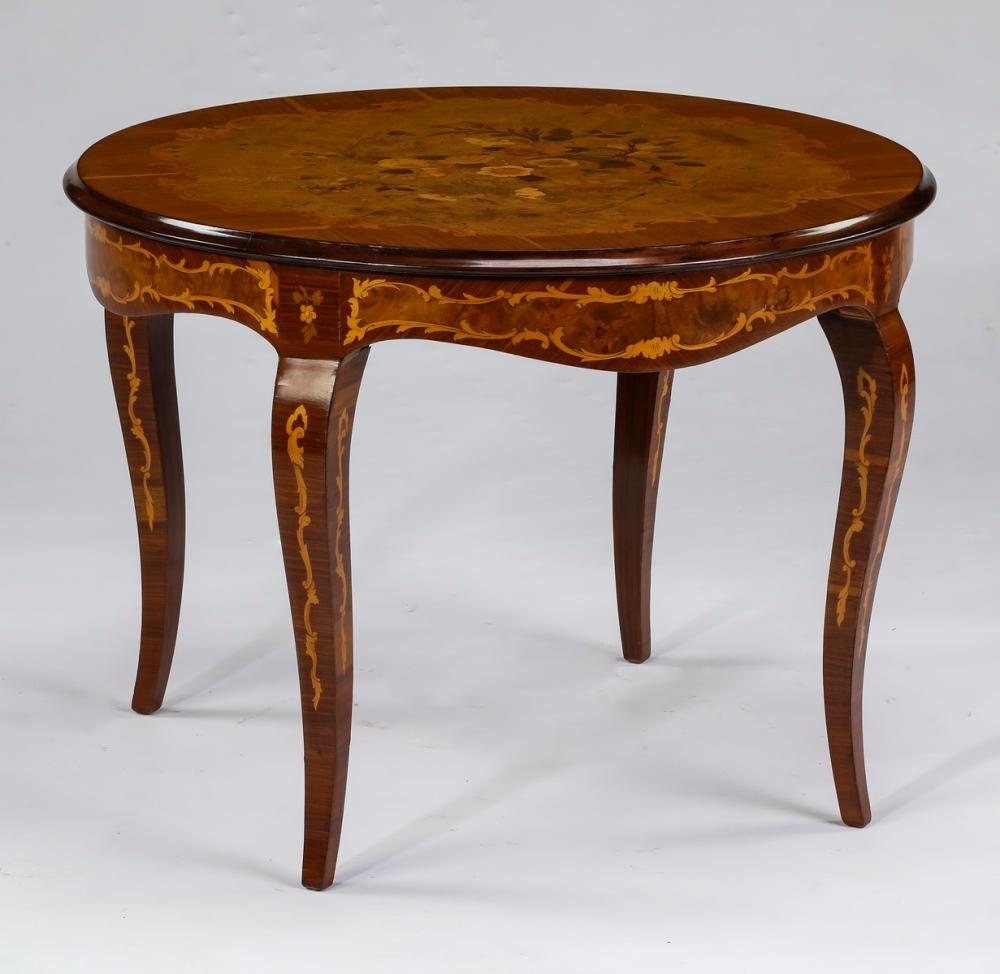Italian marquetry inlaid accent table