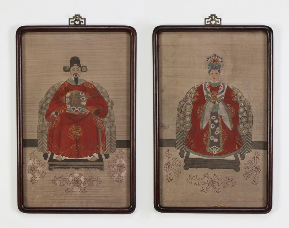 (2) Chinese Ming style court/ancestor portraits