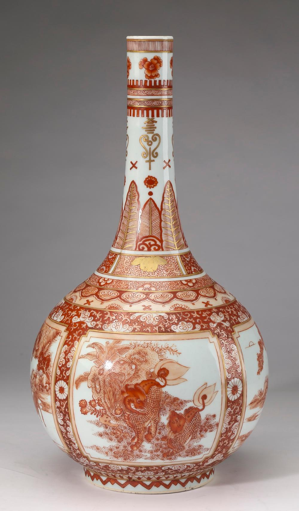 Chinese iron red qilin and deer vase