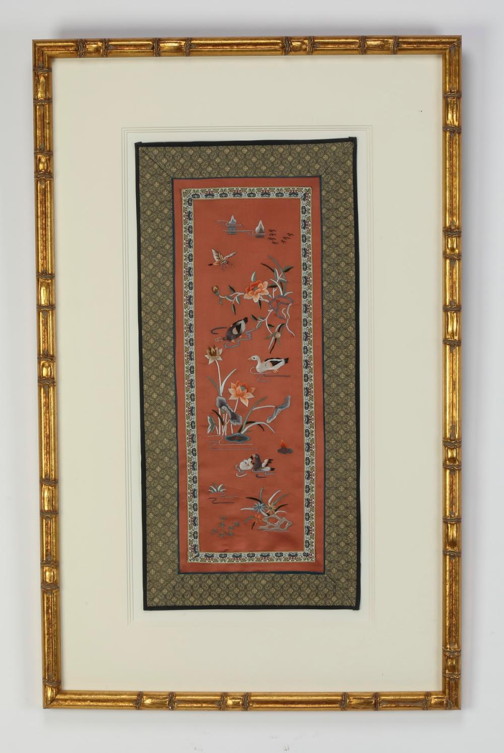 Chinese framed embroidered panel of a lotus pond