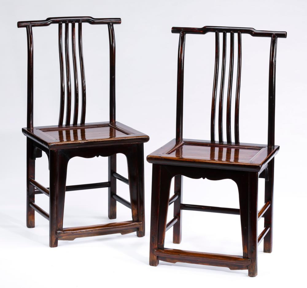 "Pair of Chinese elm official's hat chairs, 41""h"