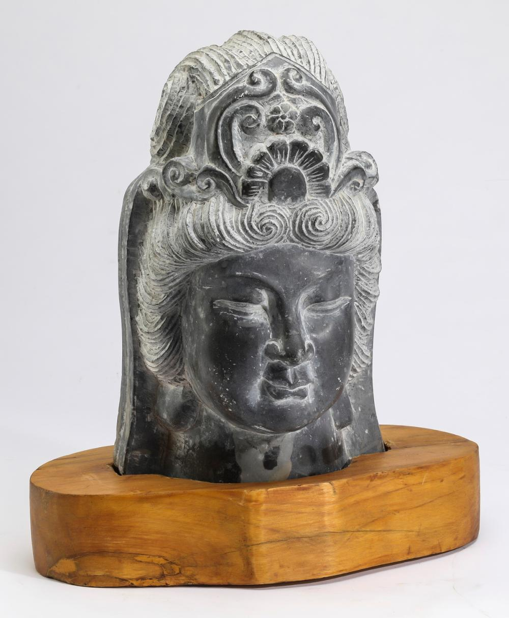 "Chinese carved stone bust of Quan Yin, 17""h"