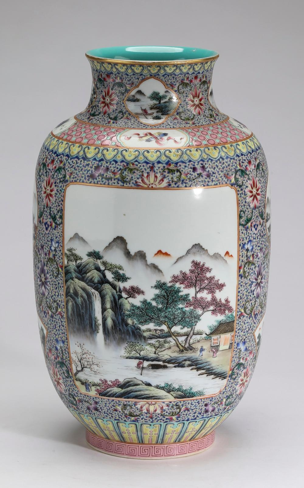 Chinese famille rose vase with landscape scenes
