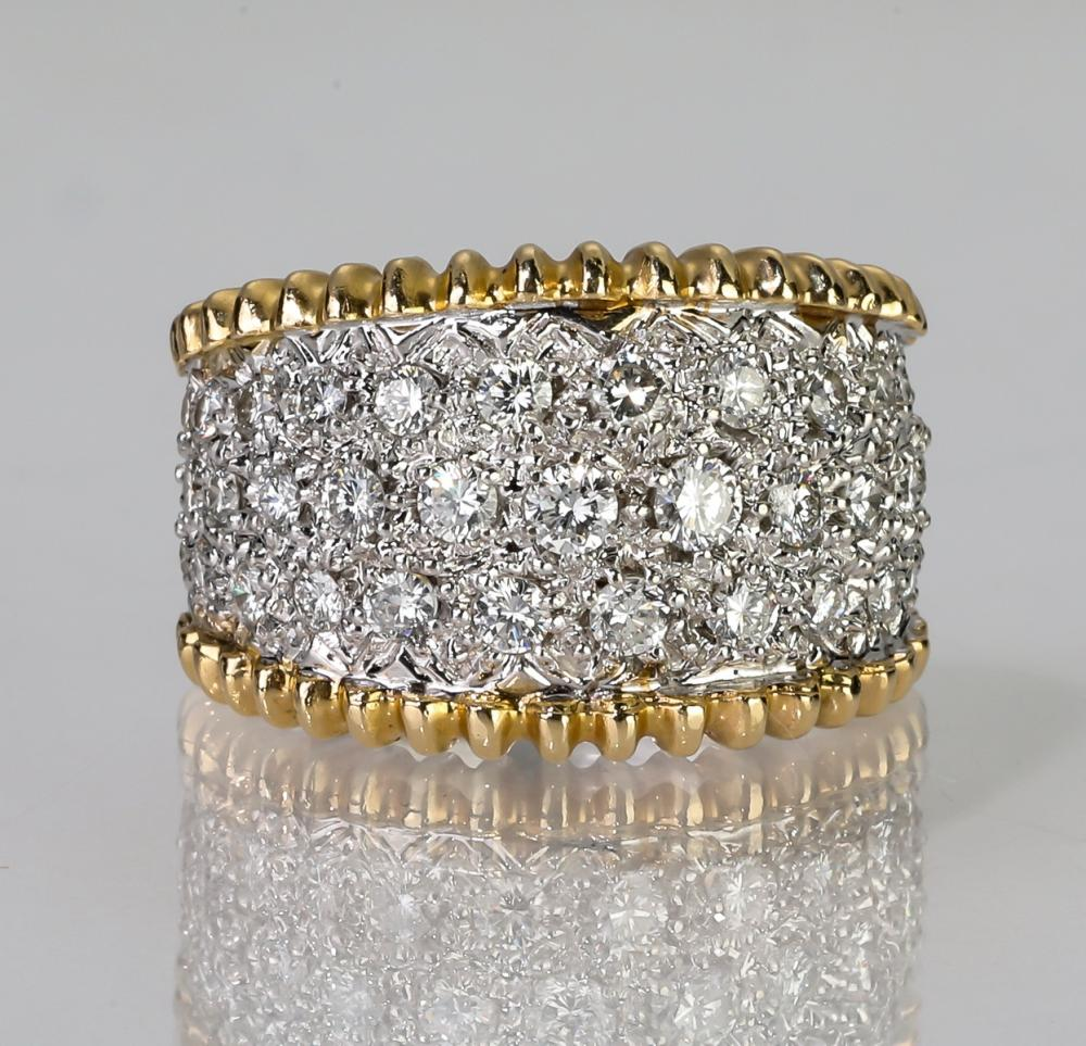 Diamond &14k white and yellow gold cigar band ring