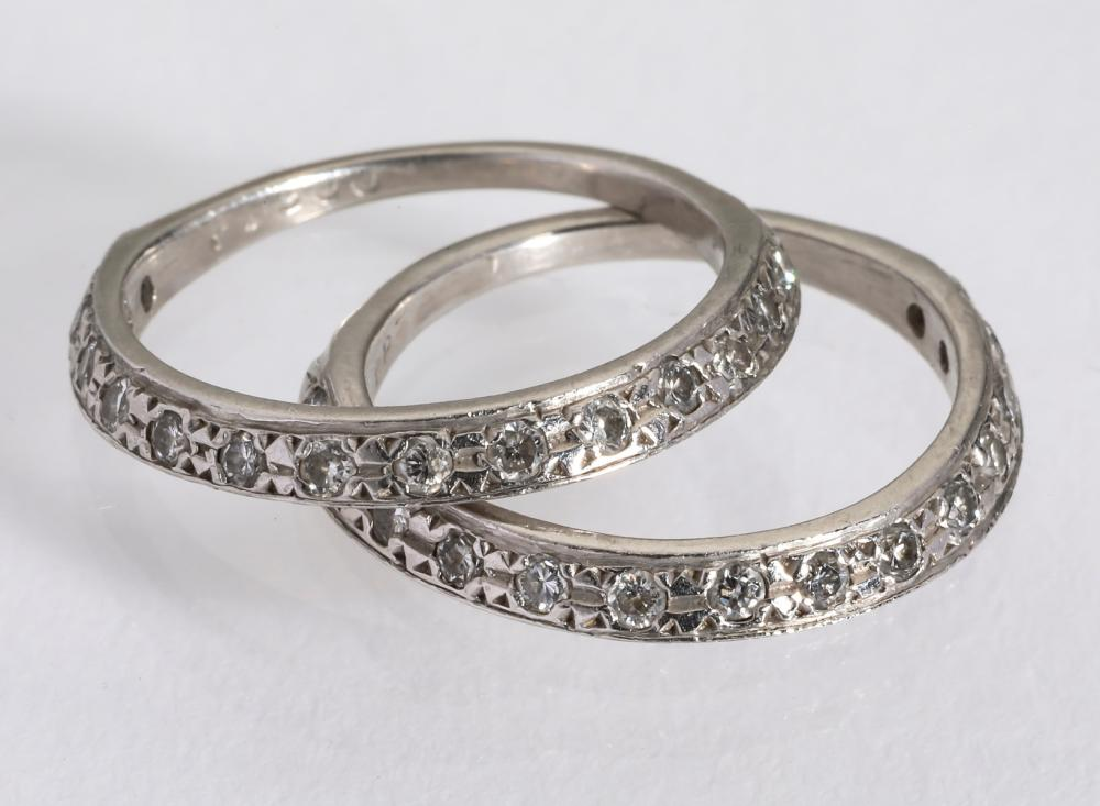 (2) Platinum and diamond band rings