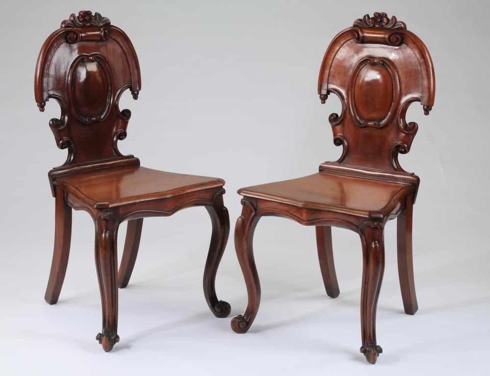 (2) 19th c. French carved walnut side chairs