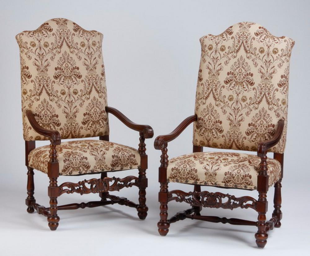 "(2) Carved mahogany armchairs, 52""h"