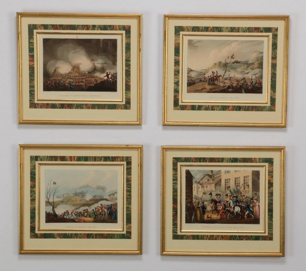(5) 19th c. hand colored Napoleonic engravings