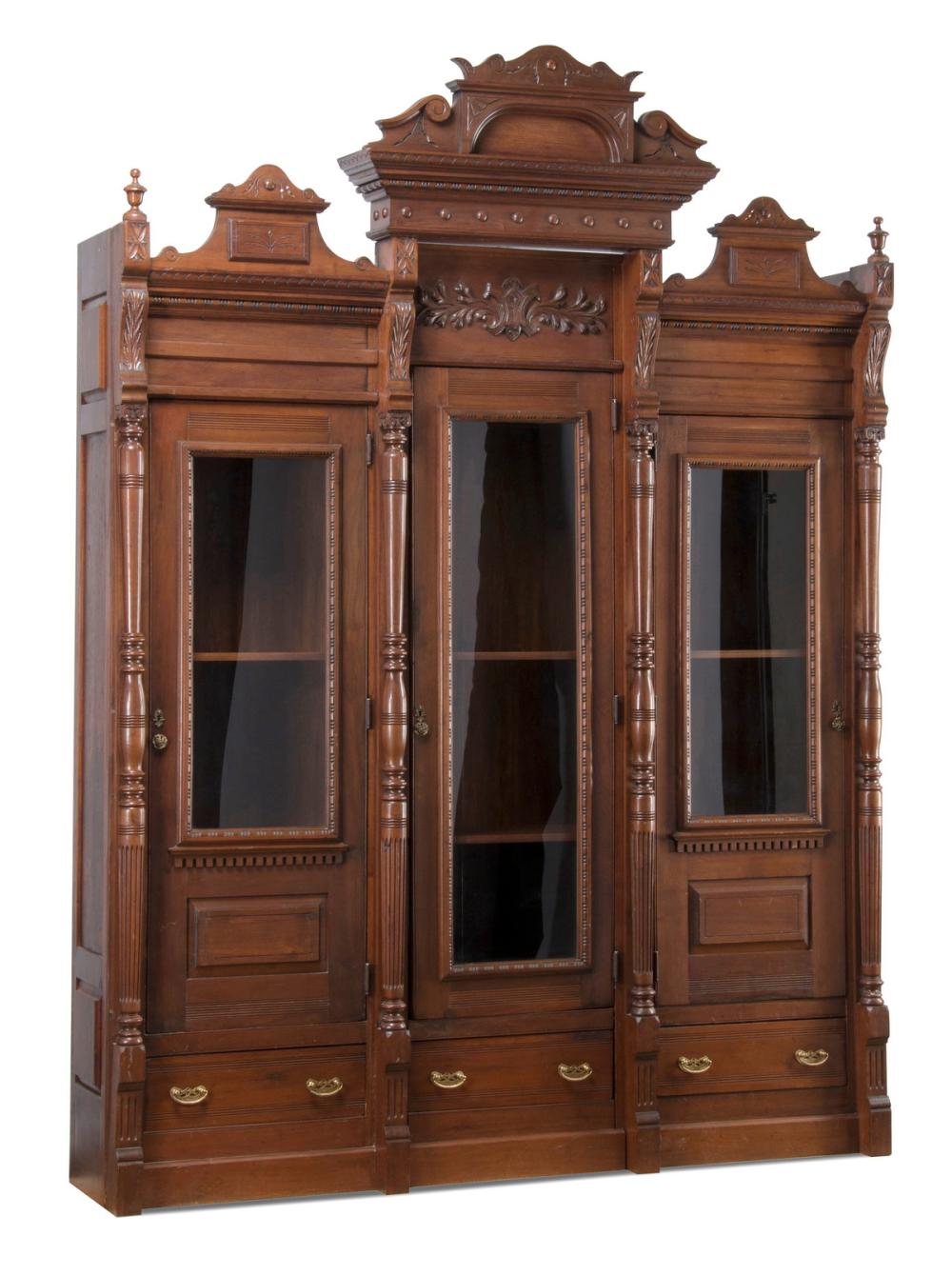 "19th c. Continental carved walnut bibliotheque, 111""h"