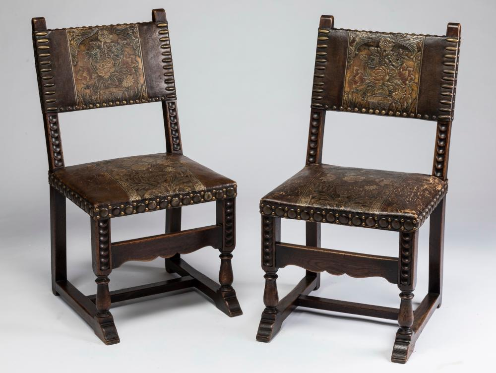 (2) 19th c. chairs upholstered in tooled leather