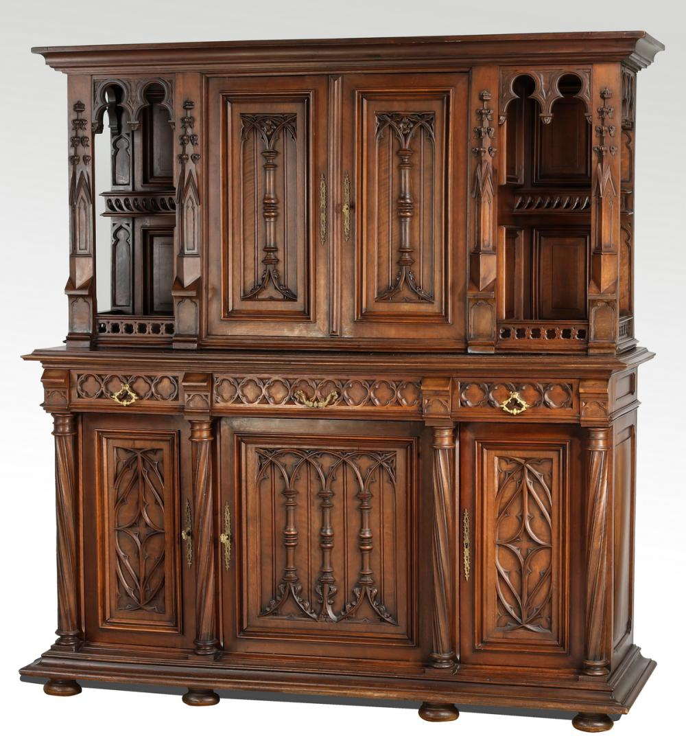 19th c. French Gothic Revival carved oak cabinet