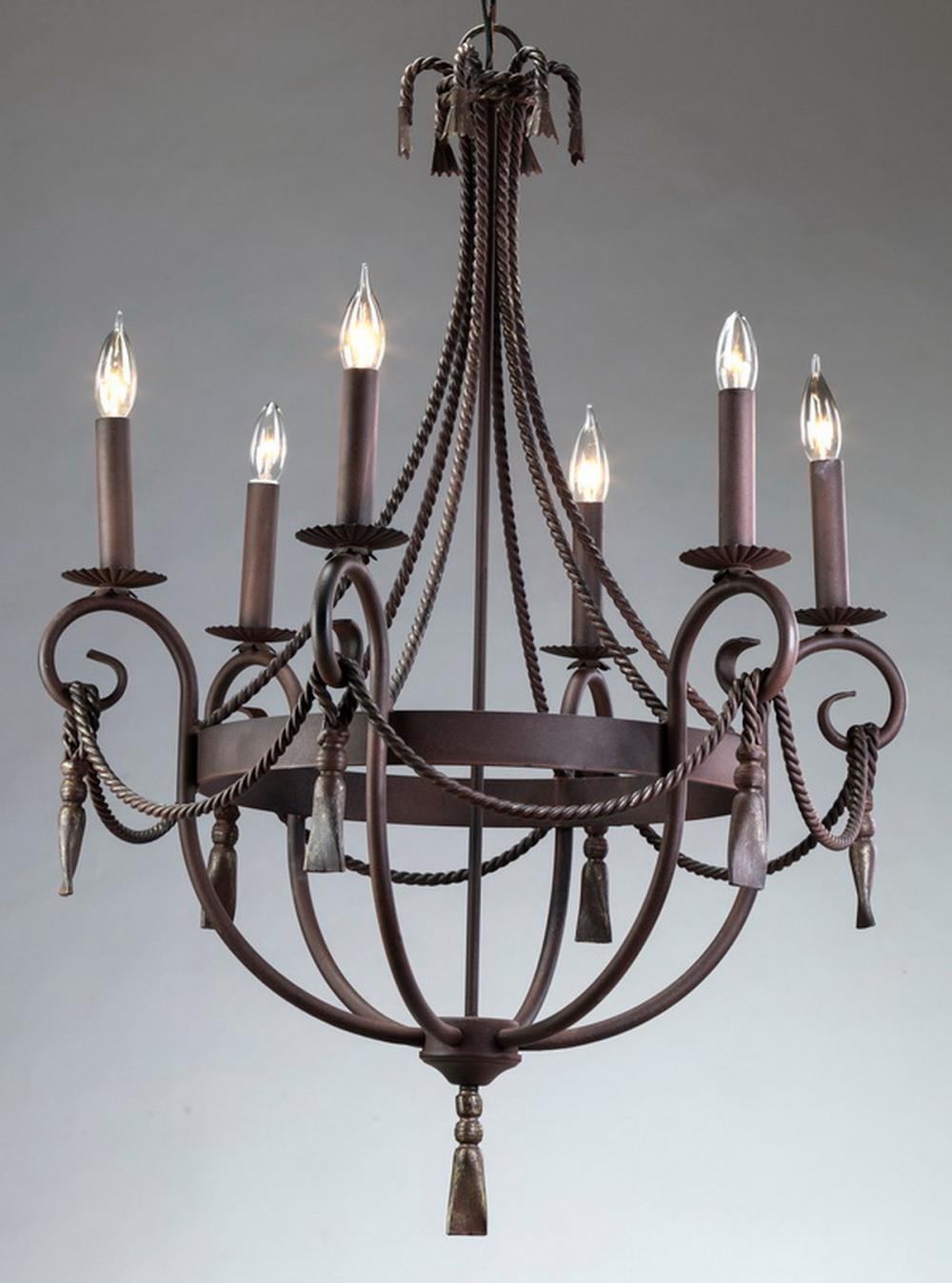 "Contemporary wrought iron six-arm chandelier, 31""h"