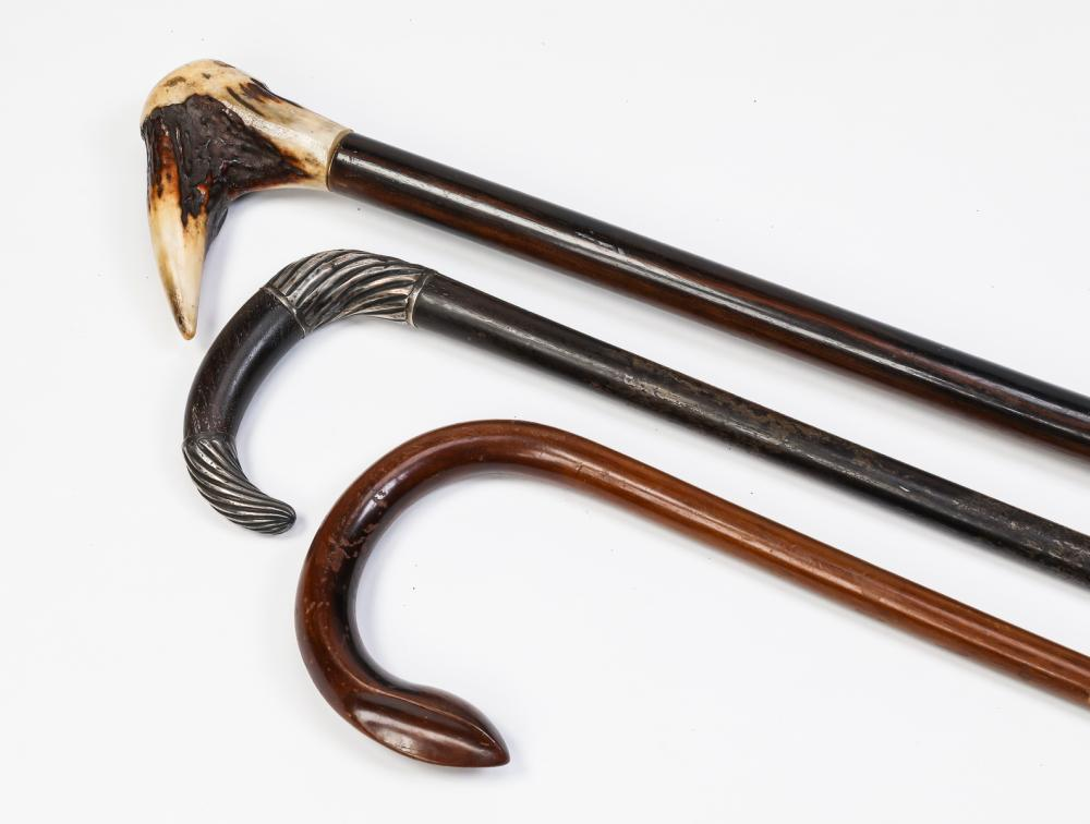 Group of (3) walking sticks including an antler grip