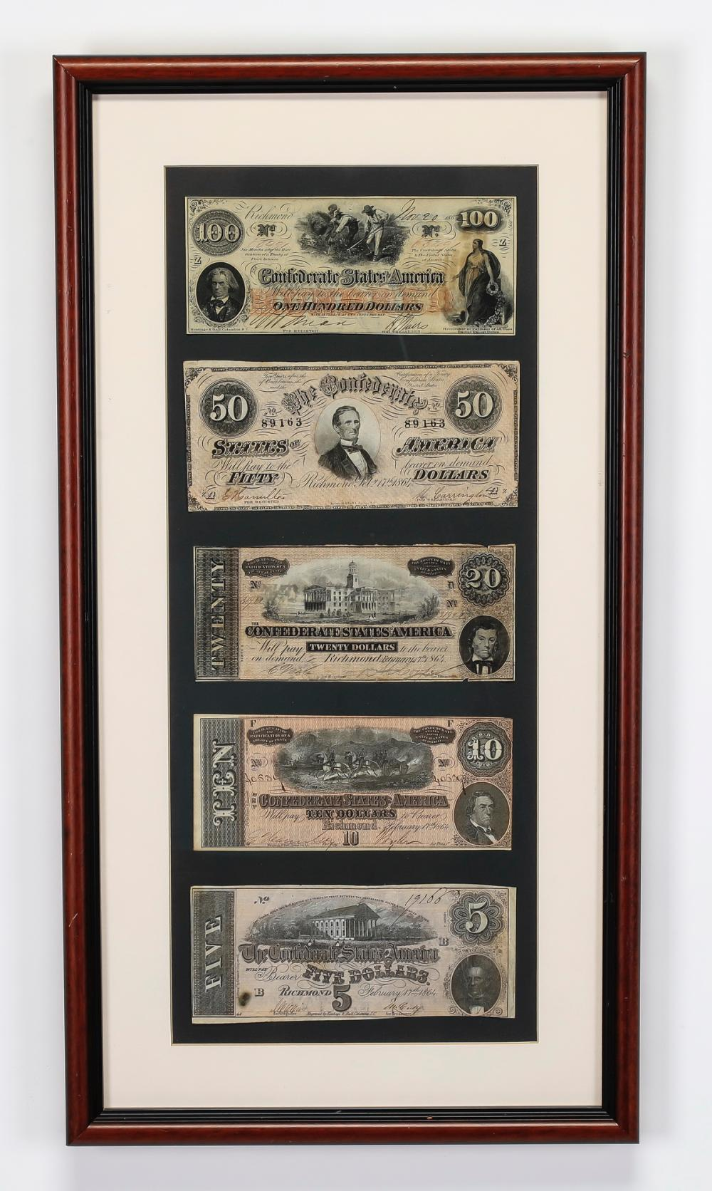 (5) Obsolete Confederate currency notes, framed