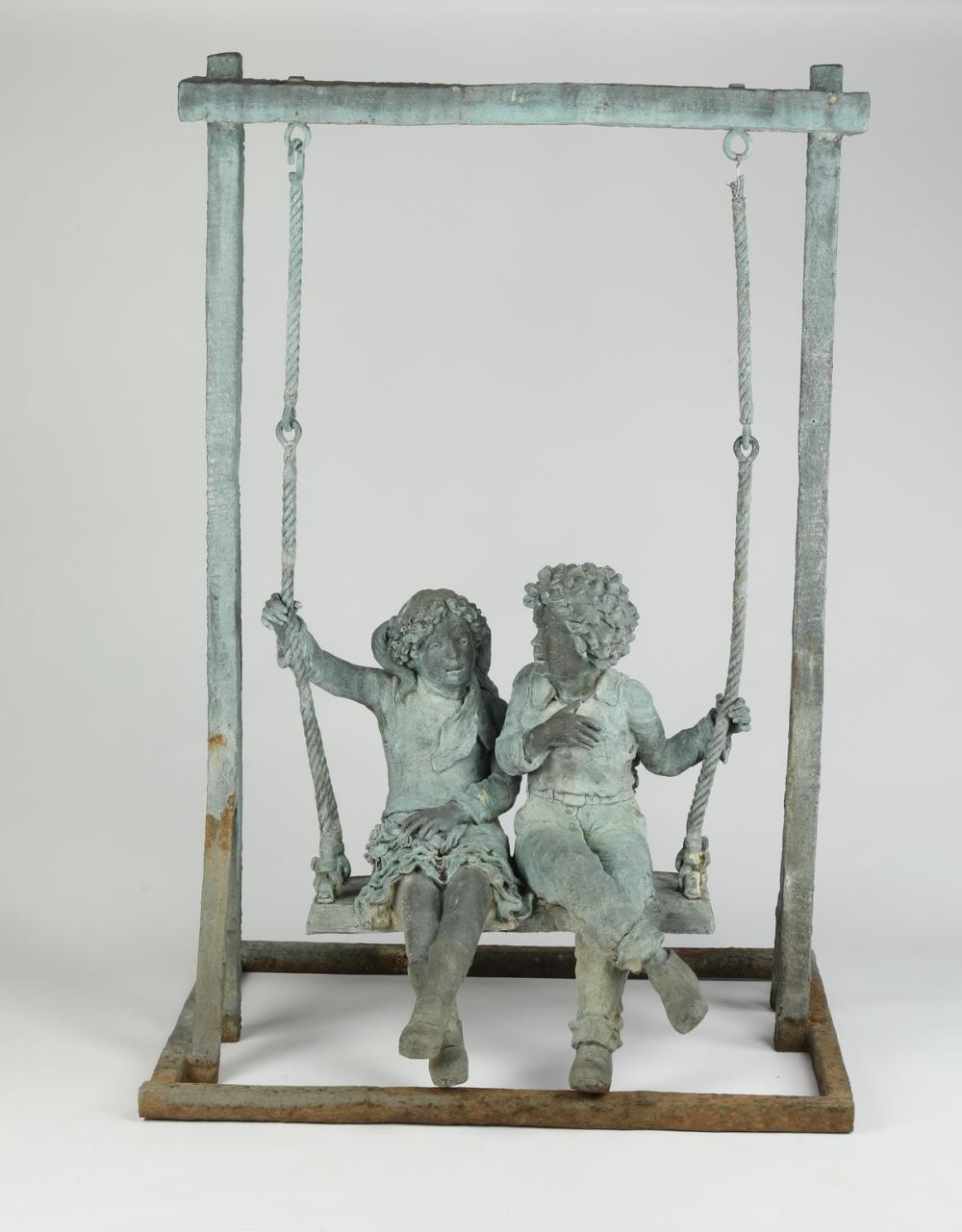 Patinated bronze sculpture, two children on a swing