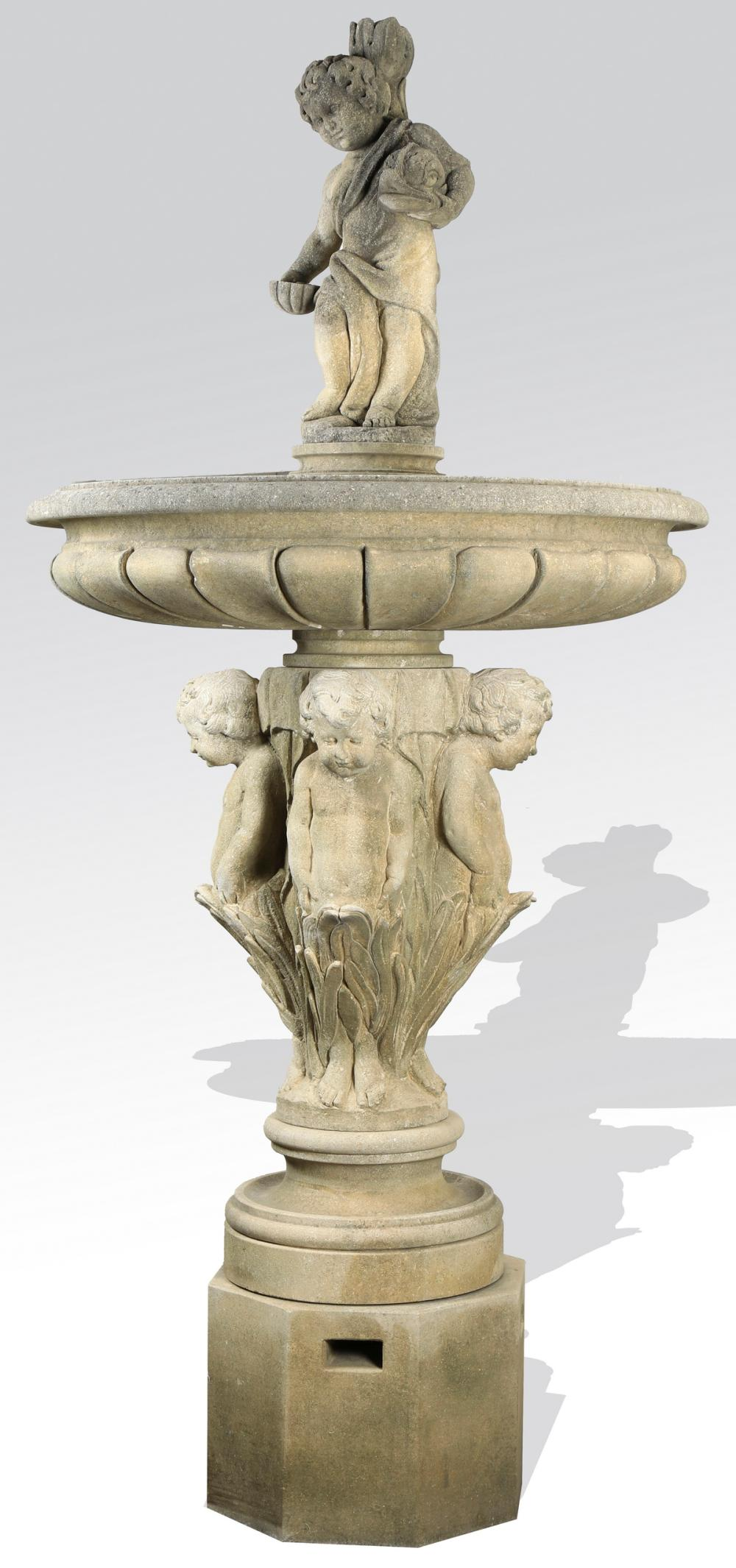Hand carved Italian limestone fountain with cherubs