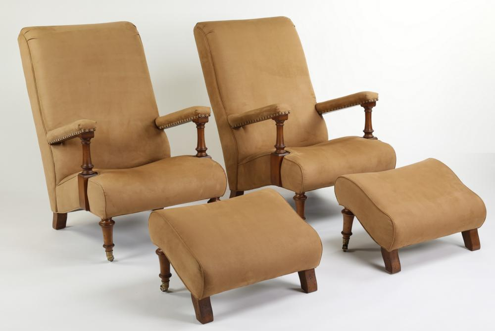 (2) Henredon armchairs and footrests in faux suede