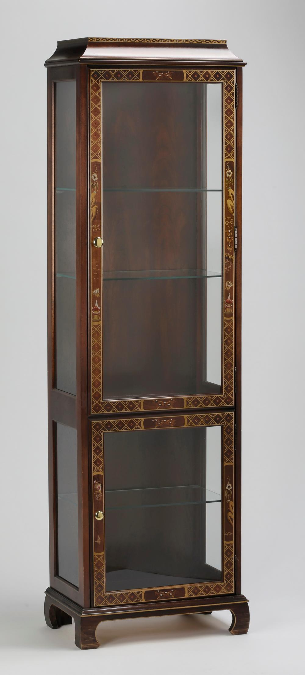 "Chinoiserie inspired two-door display cabinet, 71""h"