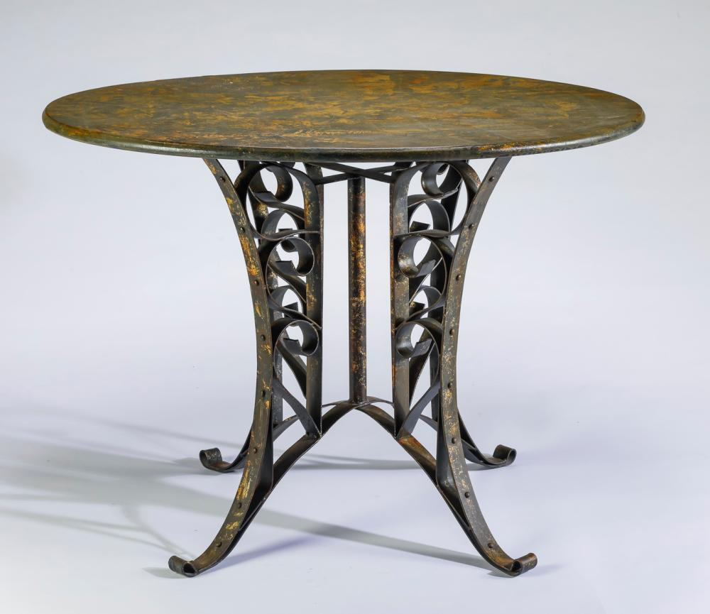 Metal center table with paint decorated top