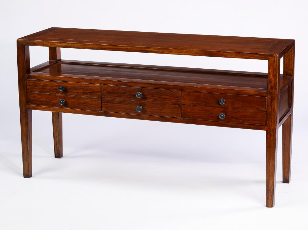 "Asian style hardwood console, 54""l"