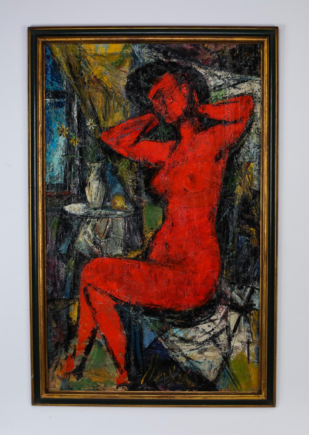 Attributed to Sigmund Menkes O/c cubist nude
