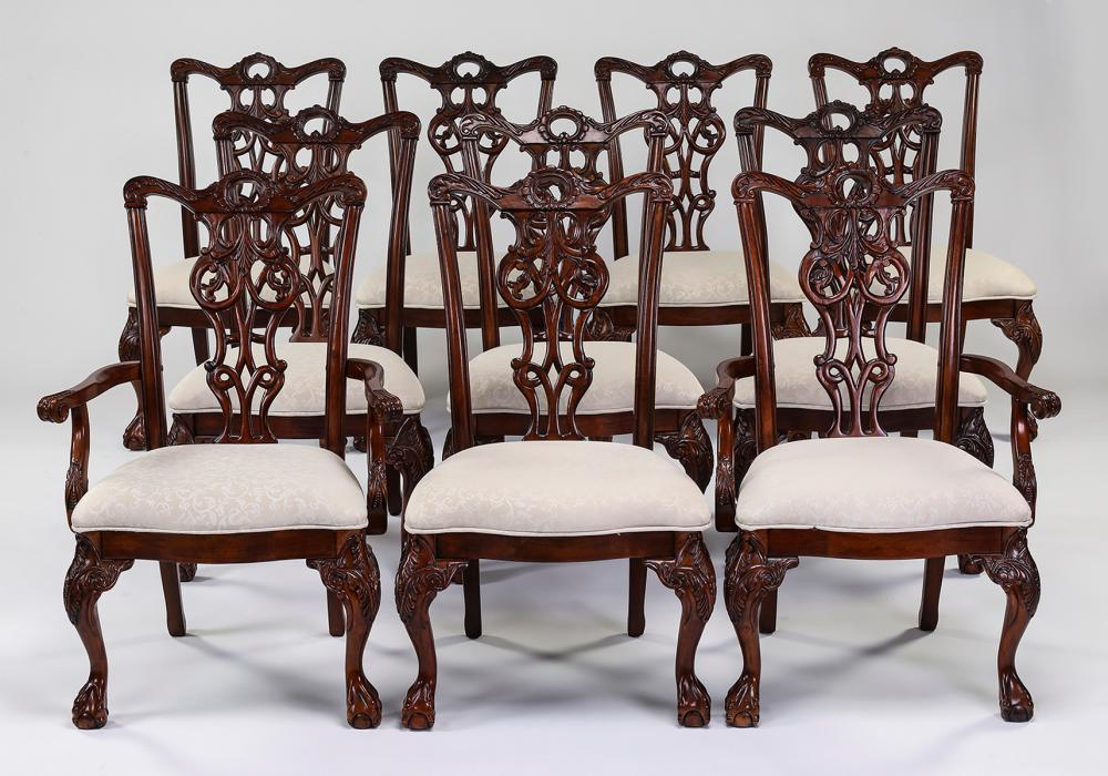 (10) Chippendale style mahogany dining chairs