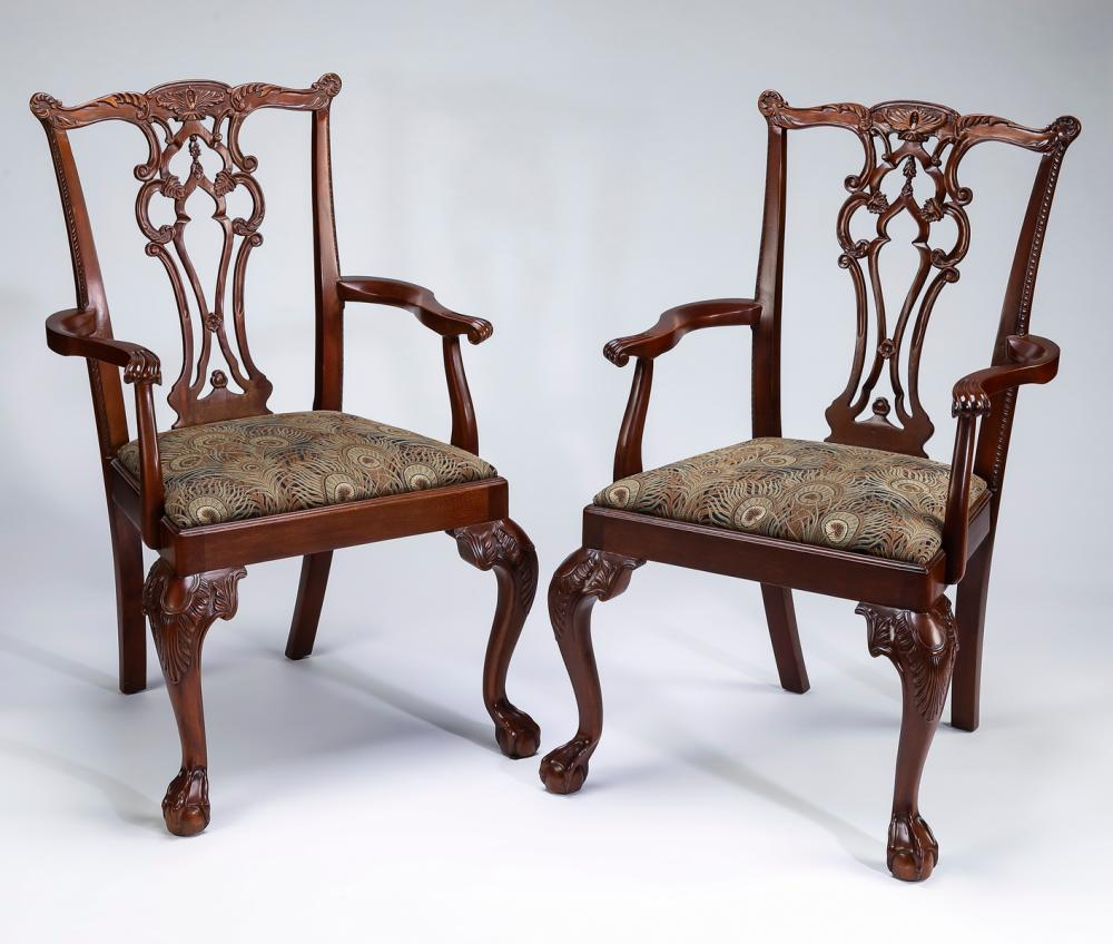 Pair of armchairs in the Chippendale style