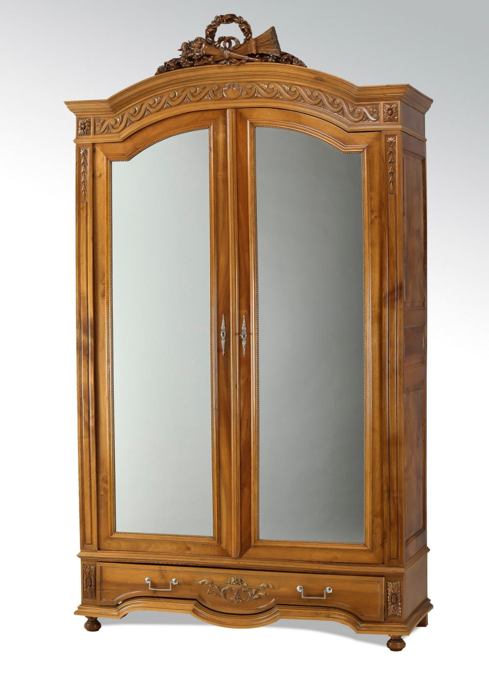 "19th c. French carved walnut mirrored armoire, 96""h"