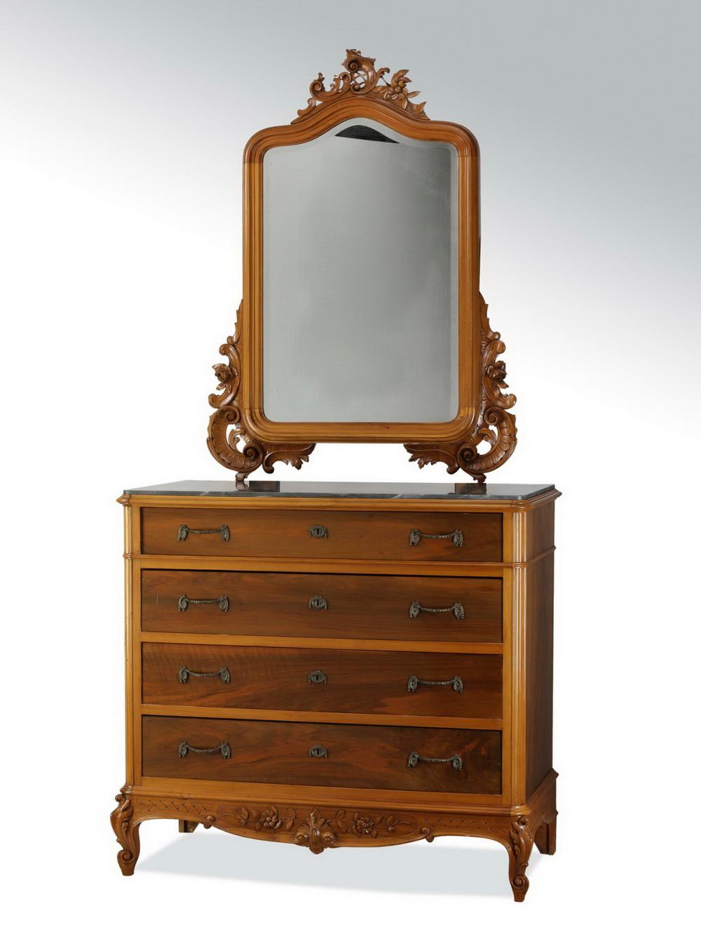 19th c. French carved walnut chest w/ mirror