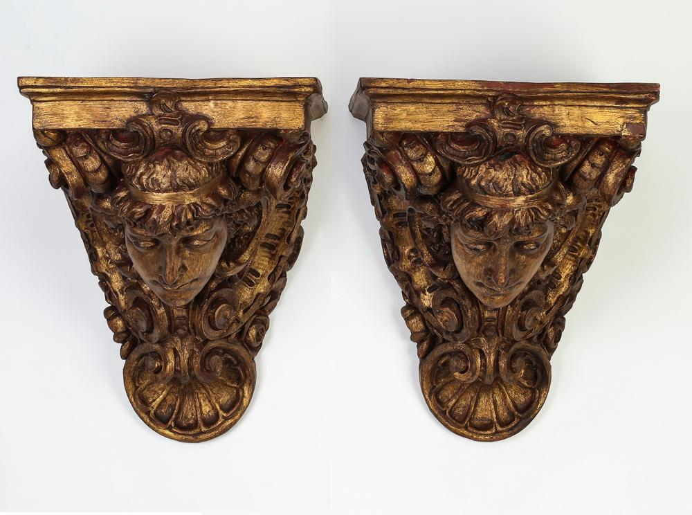 "Pair of Baroque style gilt-decorated corbels, 19""h"