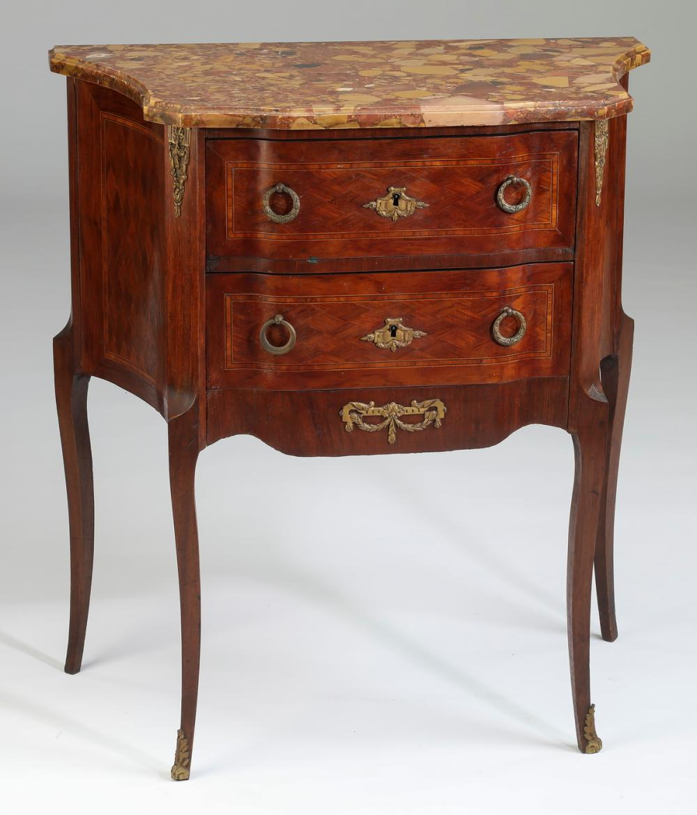 Early 20th c. mahogany and marble side table