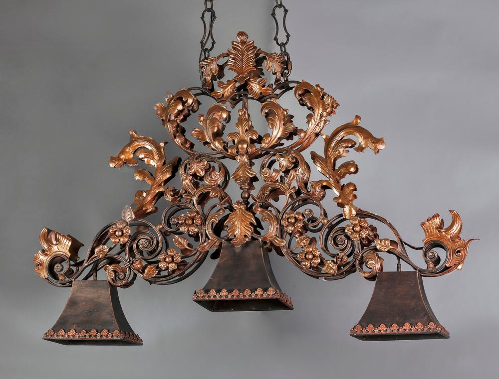 Baroque style 3-light chandelier w/ copper finish