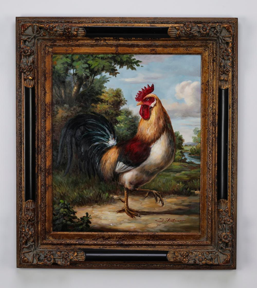 "Contemporary O/c of colorful strutting rooster, 33""h"
