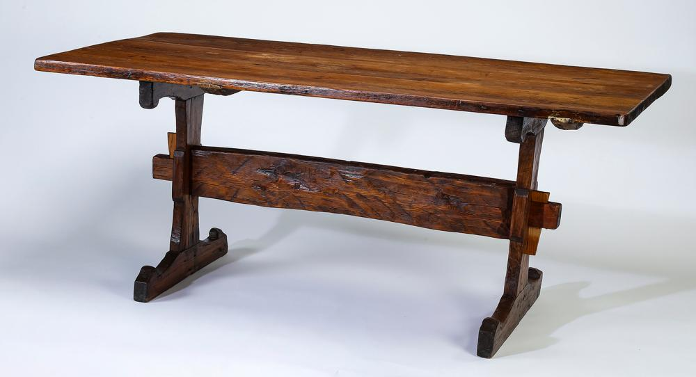 "18th c. Continental heart pine trestle table, 72""l"
