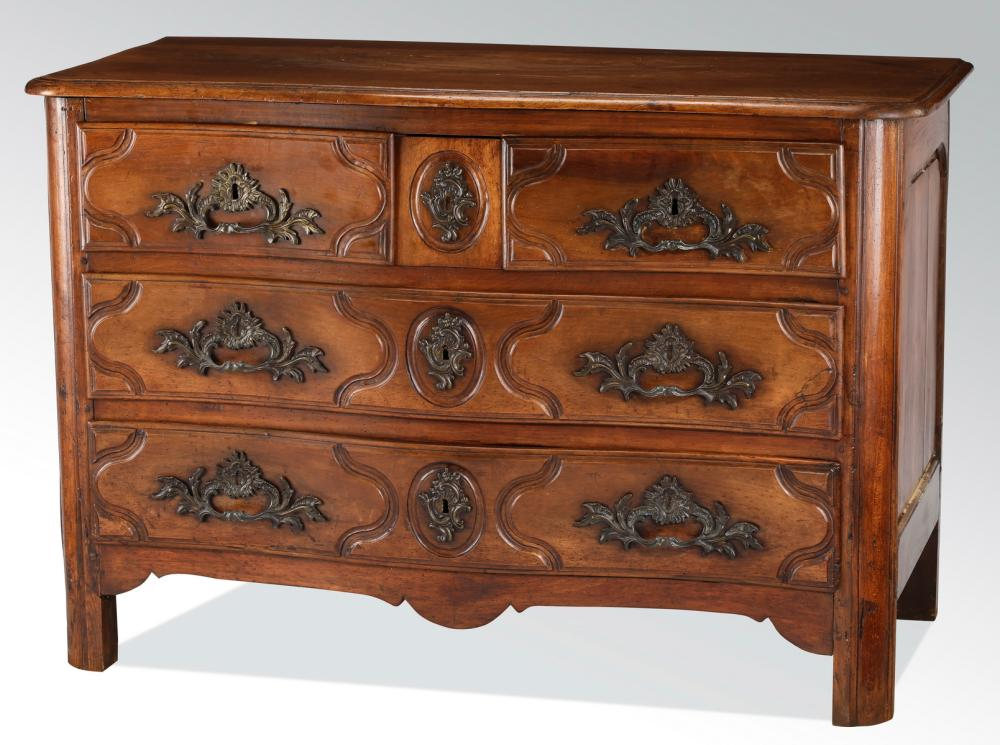 18th c. French carved walnut serpentine commode