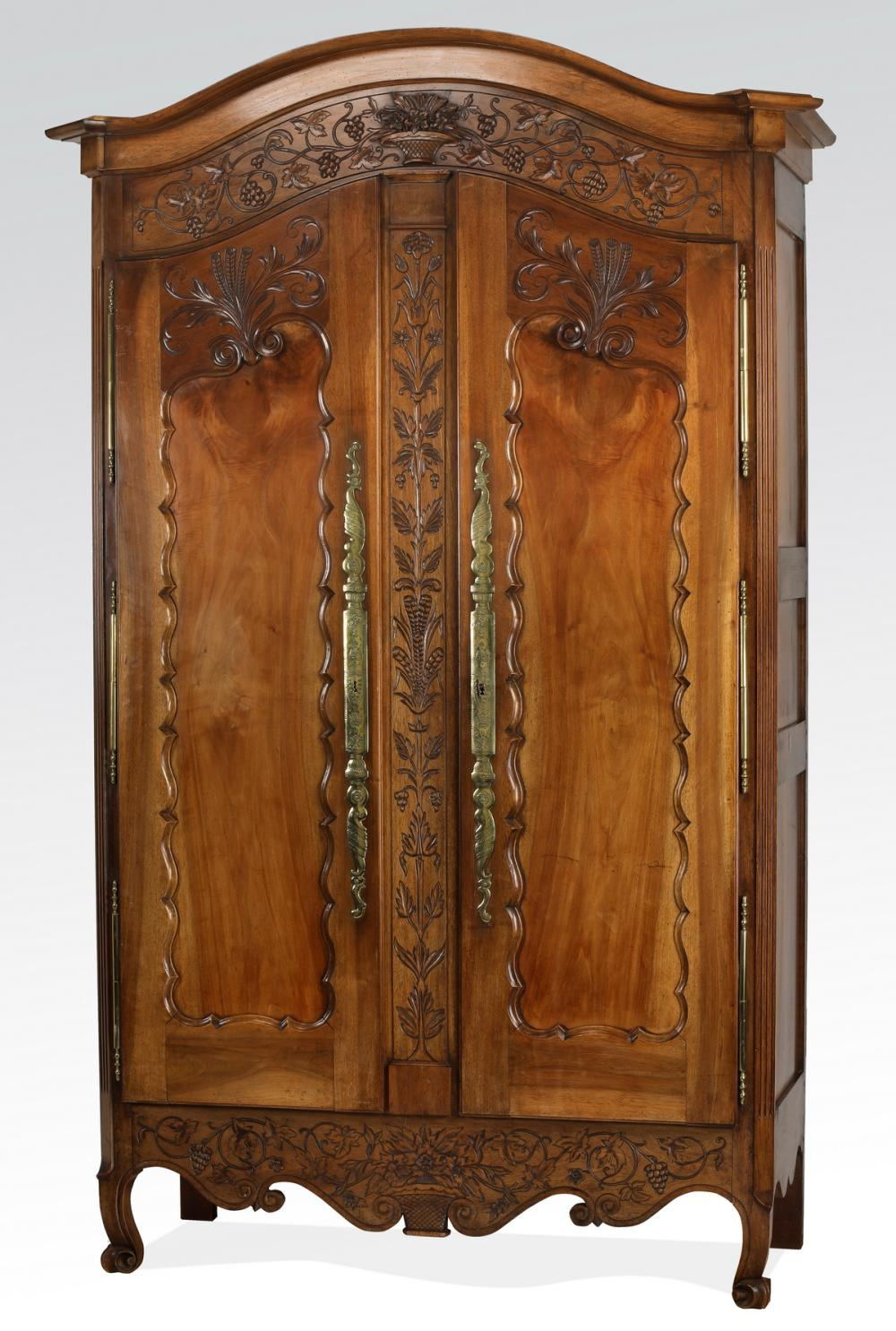 Mid 19th c. French walnut armoire w/ floral carvings