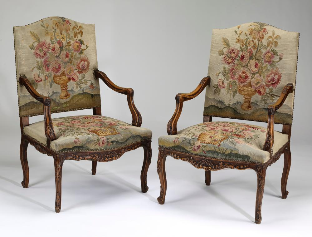 (2) 19th c. pettit point floral upholstered fauteuils