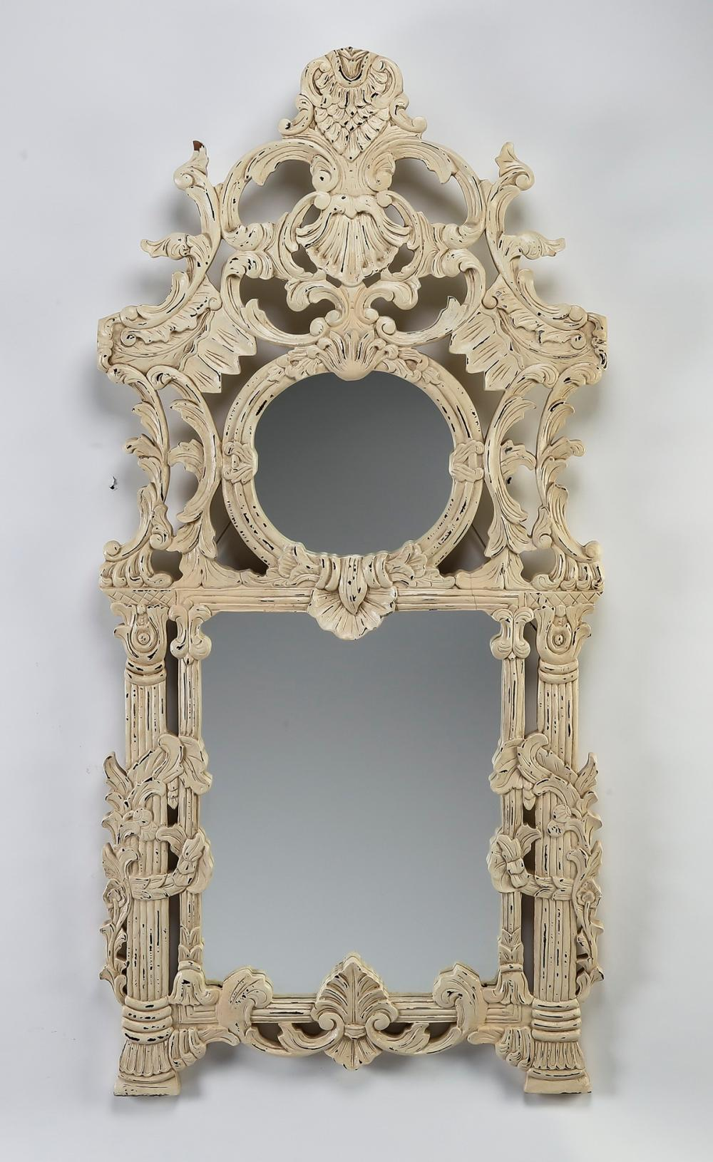 "Chinoiserie inspired wall mirror, 61""h"