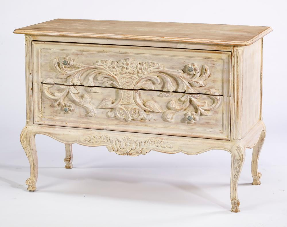 French Provincial inspired paint-decorated commode