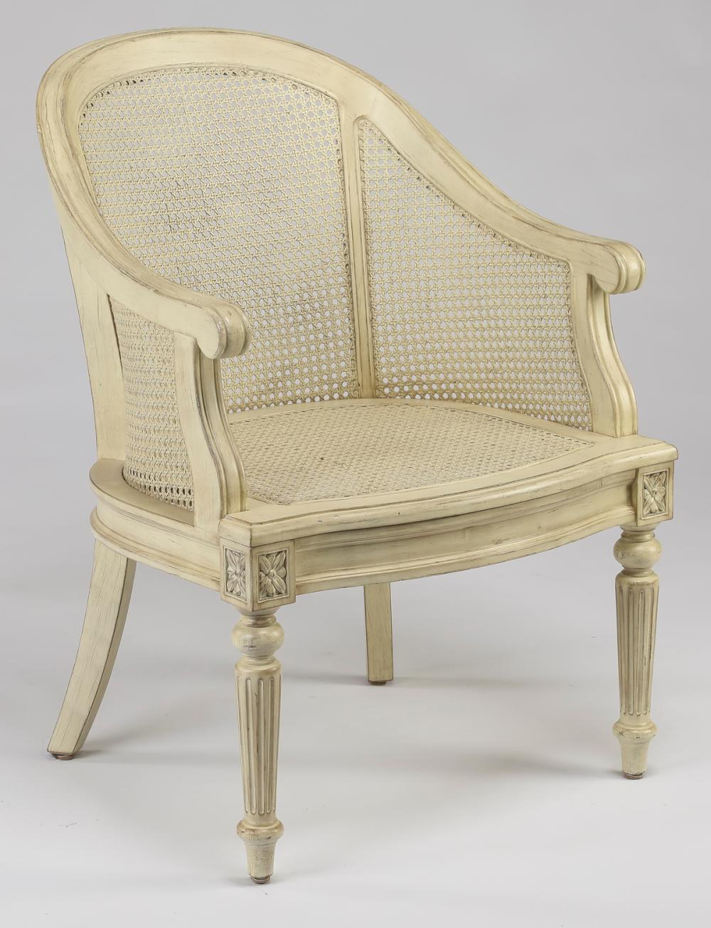 French Provincial style caned & painted tub chair