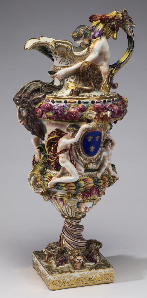 19th c. Capodimonte porcelain figural ewer, 18